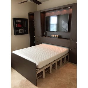 American Modern style Power Wallbed with custom light installation by local lighting shop