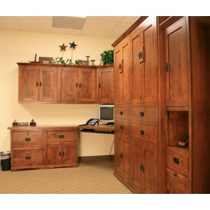 Office with Queen size Knotty Alder American Craftsman Murphy Bed, Desktop, with Upper Cabinets and Pedistals in Autumn Haze Brown Glaze finish