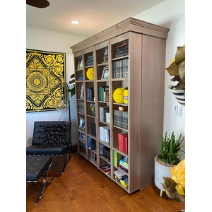 Bookcase Wallbed in Knotty Alder wood with Glacier Bay finish