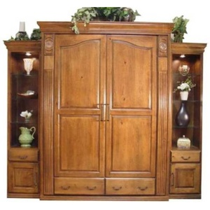 Queen Tuscany Wall Bed with 18 inch Deluxe Door and Drawer Side Cabinets