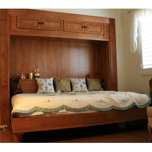 Custom Rustic Cherry Harmony Murphy Bed Open
