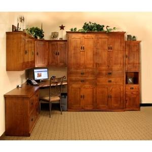 Knotty Alder American Craftsman Office with Autumn Haze Brown Glaze finish