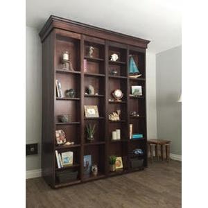 Queen size Bi-Fold Bookcase Wallbed / Alder / Burnt Sugar