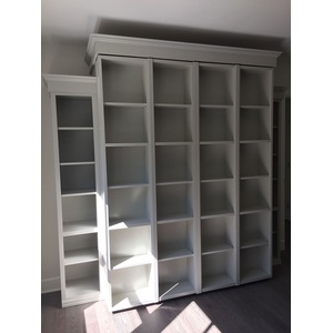 Bi-fold Bookcase Wallbed in White finish