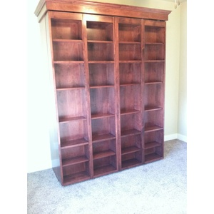 Bifold Bookcase Wallbed in Alder wood with Cimarron Valley finish