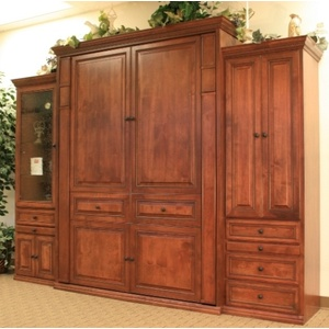 Queen Size Harmony Wall Wall Bred Alder Wood Autumn Haze Brown Glaze Finish