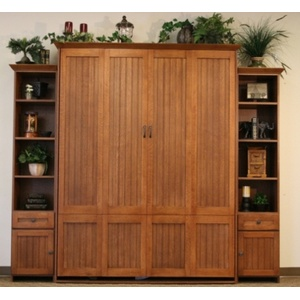 Queen size Newport Murphy Bed in Quarter Sawn Oak with English Manor Brown Glaze finish