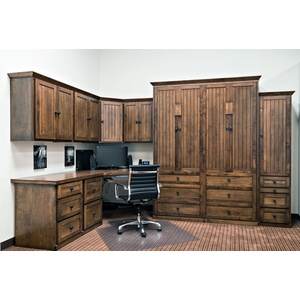 Queen Size Hampton Home Office in Cherry wood in Autumn Haze with Black Glaze Finish