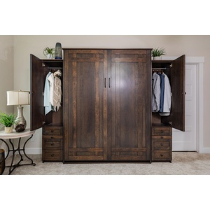 Santa Fe style Murphy Bed in Cherry wood with Driftwood finish