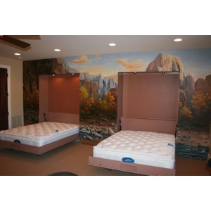 Two Chalet style Wall Beds built into the wall mural at the 2007 Parade of Homes