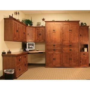 American Craftsman Knotty Alder Desk with Autumn Haze Brown Glaze Finish