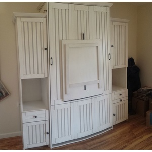 Twin size Newport style Murphy Bed in White finish with Drop Down Table