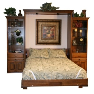 Tuscany Wall Bed in Rustic Cherry wood with Autumn Haze finish open