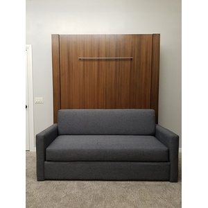 Monaco Sofa Murphy Bed / Mahogany wood / Natural finish / Gray sofa