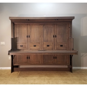 Mission style Murphy Desk Bed in Quarter Sawn Oak wood with Driftwood finish