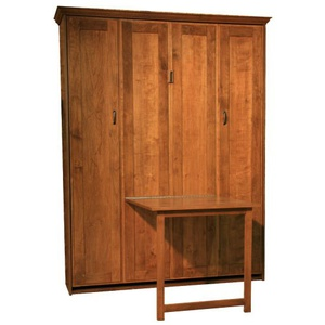 Alder Queen Remington Murphy Bed with Table down