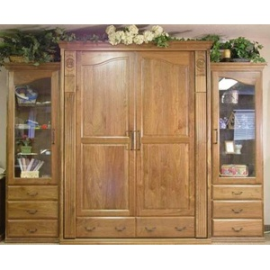Queen Tuscany Wall Bed in Walnut Wood with Natural Finish and Side Cabinets
