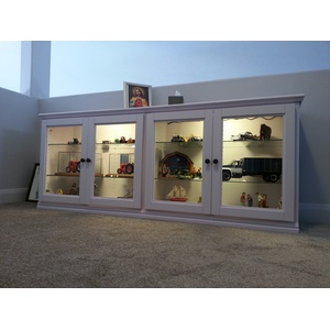 Custom Cabinet with lighted glass shelves and doors