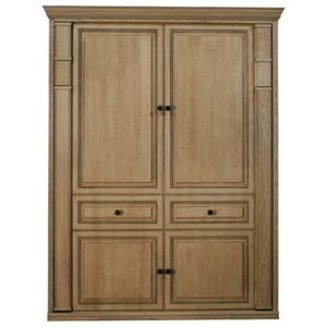 Queen size Harmony in Oak wood with Antique White finish
