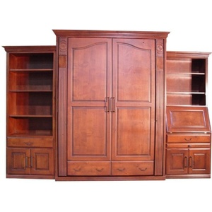 Queen Tuscany Wall Bed in Cherry Wood with Crimson Spray Finish, Left Deluxe Side Cabinet, Right Secretary