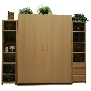 Oak Dakota Murphy Bed with 18 side cabinets