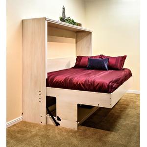 Paris style Murphy Desk Bed in Oak wood / Antique White finish