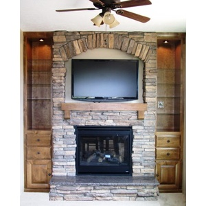 Fireplace mantle with built in cabinets