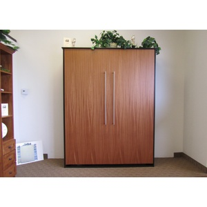 Queen size Scape Murphy Bed with Mahogany / Natural finish face, Alder / Espresso finish surround