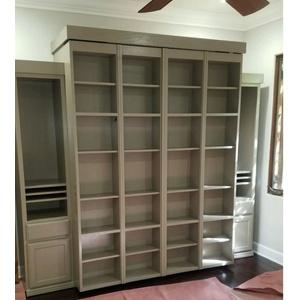 Queen size Bi-fold Bookcase Wallbed in Keystone Gray finish