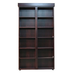 Twin size Bookcase Wallbed in Oak wood with Cordovan finish