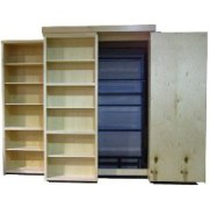 Bi-Fold Bookcase Wallbed Open and Closed