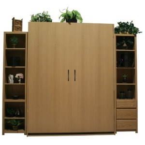 "Oak Dakota Murphy Bed with natural finish and 18"" side cabinets"