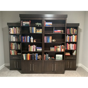 Queen size Bookcase Wallbed in Quarter Sawn Oak wood with Charcoal finish