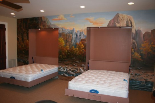 built into wall bed. Two Chalet Style Wall Beds Built Into The Mural At 2007 Parade Of Homes Bed