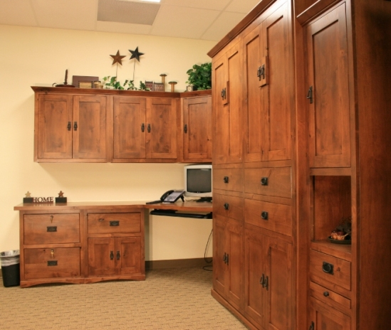 Knotty White Oak Cabinets: Murphy Bed Home Office Image Gallery, Page 4