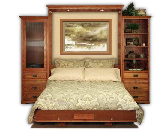 Queen Size Oak American Craftsman Wall Bed Open With Side Cabinets · «
