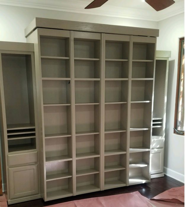 Bi-fold Bookcase Wallbed in Keystone Gray finish