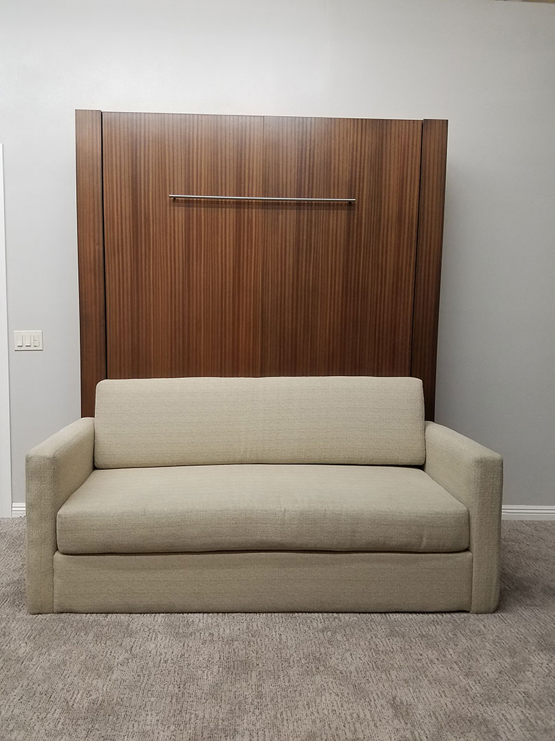 Monaco Sofa Murphy Bed / Mahogany Wood / Natural Finish / Linen Sofa