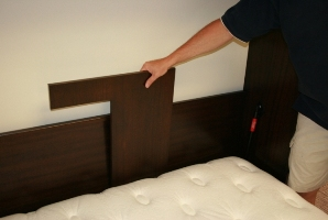 Store the Pillow Guard behind the mattress when the bed is closed