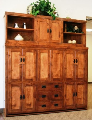 Side Mount Alder American Craftsman with Bed Top Center Door cabinet