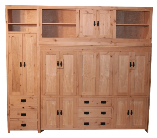 Side Mount American Craftsman Knotty Alder with Bed Top Cabinet and same height cabinet unfinished