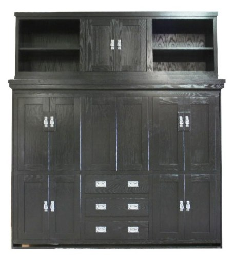 Side Mount Oak American Craftsman with Bed Top Center Door cabinet in Black finish