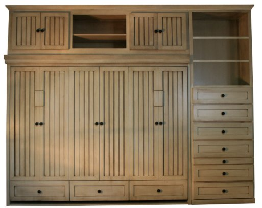 Side Mount Hampton with Bed Top Outer Door cabinet and custom cabinet with Antique White finish