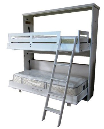 Chalet style Bunk Bed Murphy Bed in White finish