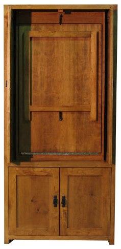 Hidden Table Cabinet doors open