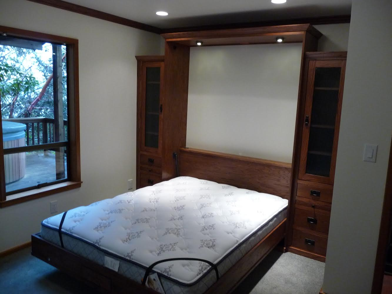Queen size Mission Street style Murphy Bed in Oak wood with Mission finish