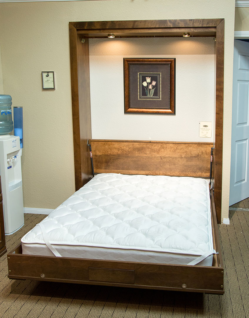 Queen size Alpine II Wallbed in Alder wood with Grand Harbor finish