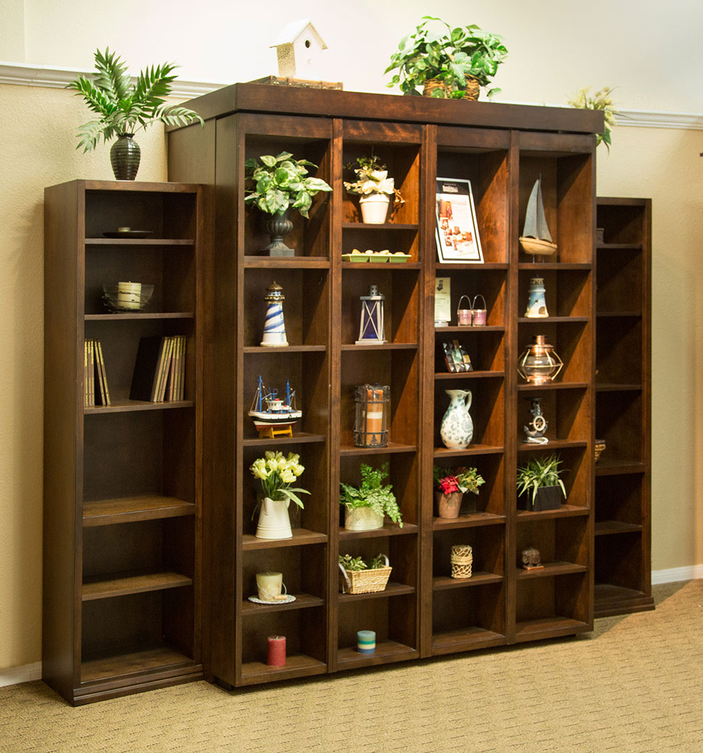 San diego california wall beds and murphy beds wilding wallbeds queen size bi fold bookcase wallbed in alder wood with mocha nut finish amipublicfo Image collections