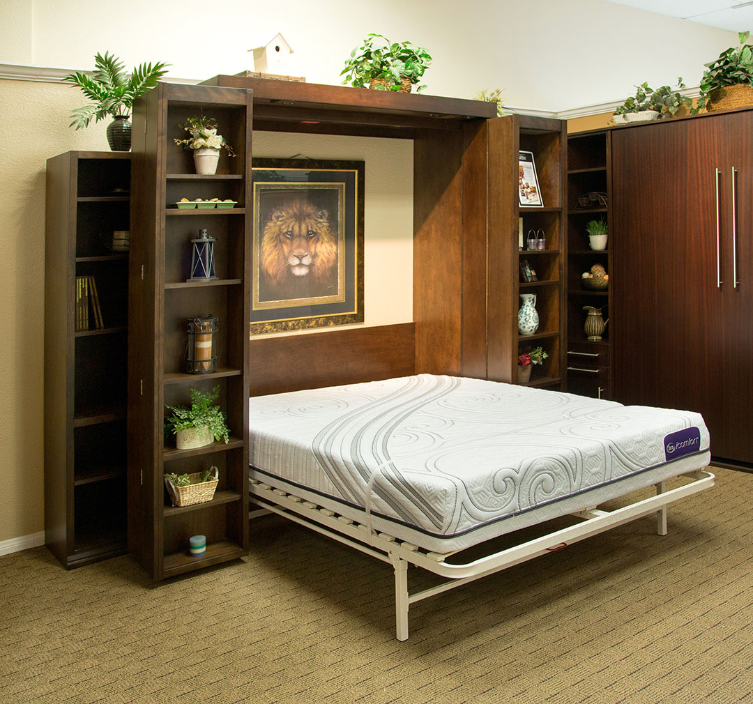 Queen size Bi-fold Bookcase Wallbed in Alder wood with Mocha Nut finish