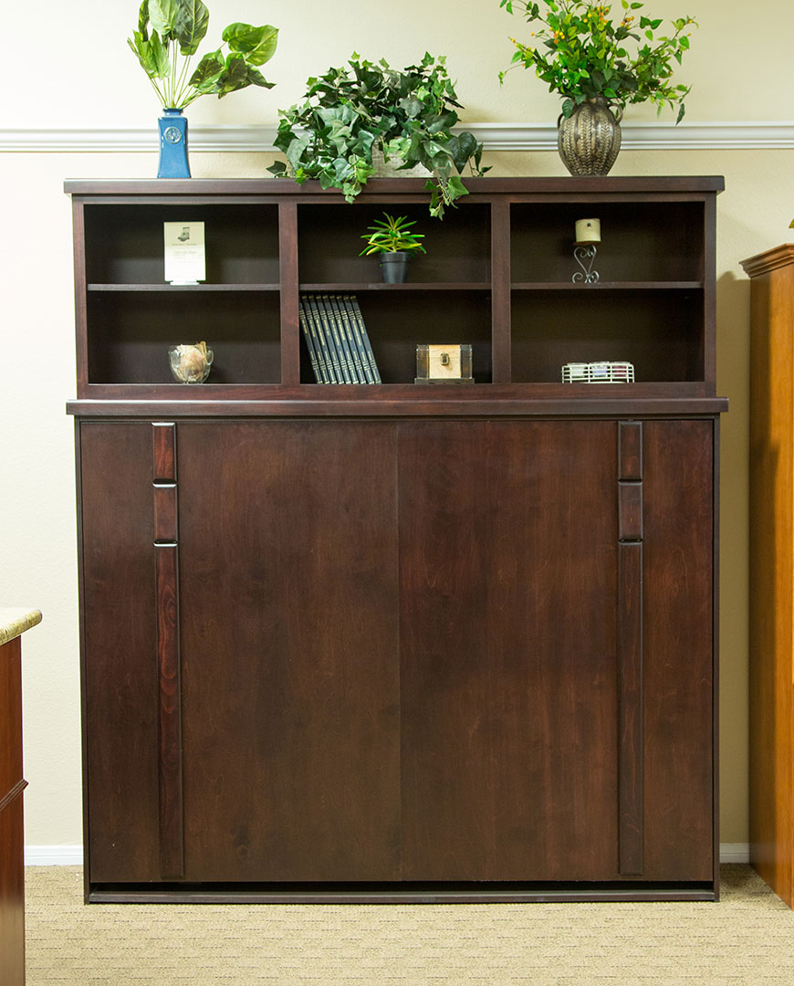 Side Mount Chalet Wallbed in Alder wood with Coffee Bean finish and Bed Top Cabinet